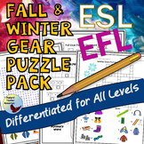 ESL Beginners Games Fall & Winter Clothing Vocabulary Puzzle Pack ENL EFL
