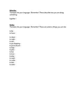 ESL Family Vocabulary Packet