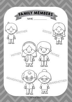 ESL Family members vocabulary posters for years 1 & 2