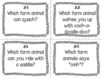 ESL Farm Animal Task Cards