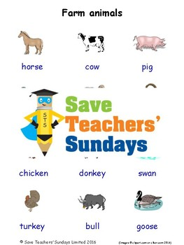 ESL Farm Animals Worksheets, Games, Activities and Flash Cards (with audio)