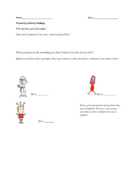 ESL Feelings Vocab Warm-Up Activity (English-French)