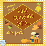 ESL Find Someone Who activity for fall AUTUMN HALLOWEEN THANKSGIVING