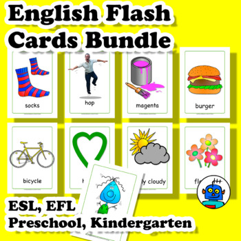 ESL English Flash Cards Bundle. Clothing, Colors, Transport, Food, Furniture