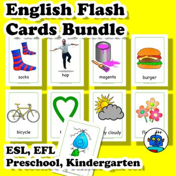 ESL English Flash Cards Bundle. Clothing, Colors, Transport, Food, Furniture