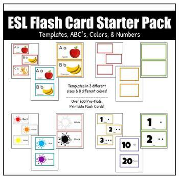 ESL Flash Card Starter Pack | Editable Templates, ABC's, Colors, and Numbers