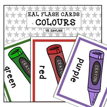 ESL Flash Cards - Colours AUS UK