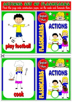 ESL Flashcards (animals, actions, clothes, nationalities,