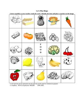 ESL Food Picture Bingo