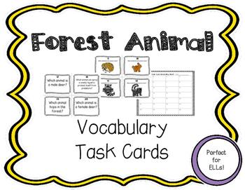 ESL Forest Animal Task Cards