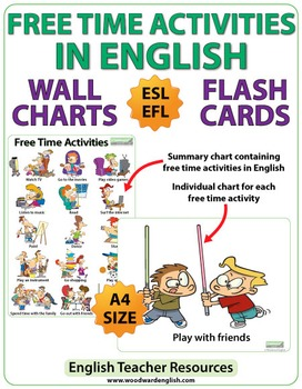 ESL Free Time Activities - Charts / Flash Cards