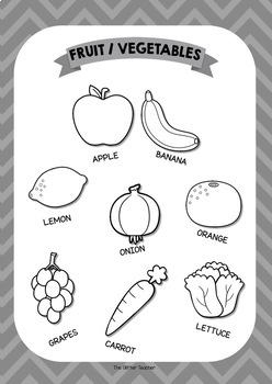 ESL Fruit & Vegetables vocabulary posters for years 1 & 2