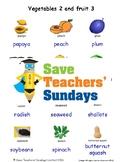 ESL Vegetables 2 & Fruits 3 Worksheets, Games, Flash Cards & More (with audio)