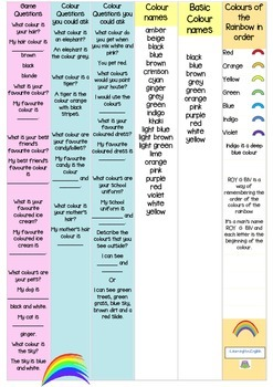 BOARD GAME - ORAL LANGUAGE - COLOURS AND RAINBOWS - UK ENGLISH SPELLING