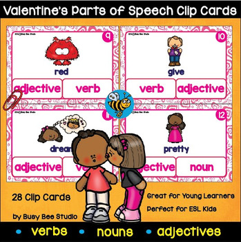 Noun, Verb and Adjective Clip Cards (Valentine's Day) for ESL/ELL Kids