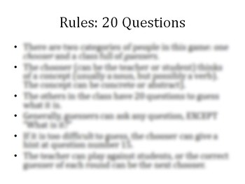 ESL Game: 20 questions