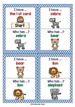 ESL Game: ANIMALS (I have, who has)