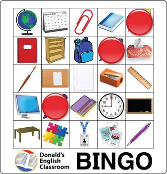 ESL Game-Classroom Vocabulary Bingo