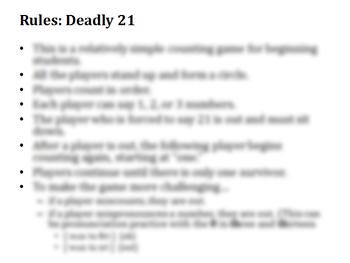 ESL Game: Deadly 21