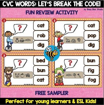 ESL Game: Let's Break the Code. Free Sampler (CVC Words)