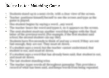 ESL Game: Letter Matching