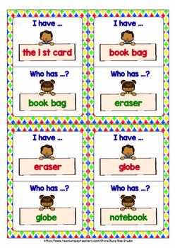 ESL Game: SCHOOL SUPPLIES (I have, who has?)