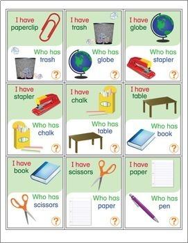 ESL Games-Classroom Vocabulary I Have Who Has Activity