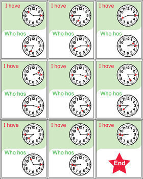 Clock I Have Who Has Activity Set