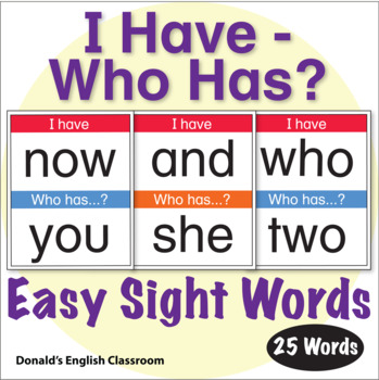 ESL Games - Easy Sight Word I Have Who Has Activity 2