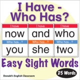 ESL Games-Easy Sight Word I Have Who Has Activity 2