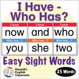 Easy Sight Word I Have Who Has Activity 2