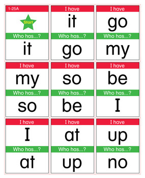 ESL Games-Easy Sight Word I Have Who Has Activity 1