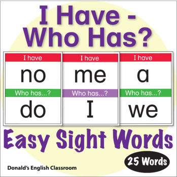 ESL Games - Easy Sight Word I Have Who Has Activity 1