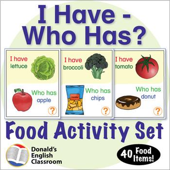 ESL Games-Food-I Have Who Has Activity Set