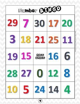 ESL Beginners Games Number BINGO