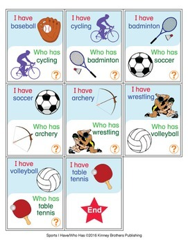 ESL Games-Sports I Have Who Has Activity Set