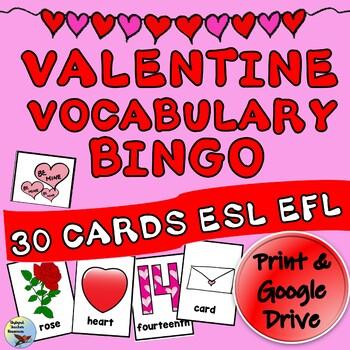 ESL Games Valentine Vocabulary BINGO