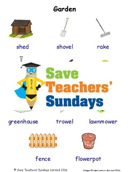 ESL Garden Worksheets, Games, Activities and Flash Cards (with audio)