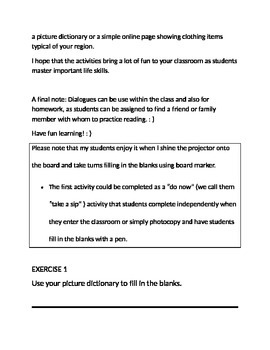 Clothing - Shopping Lesson - Beginning ESL - Grades 5 - 12 and adults