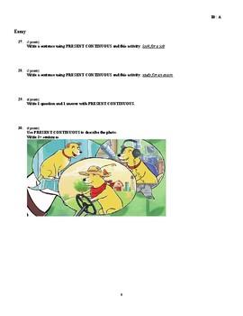 ESL/Grammar 30 Question Quiz - Simple Past & Present, and Present Continuous