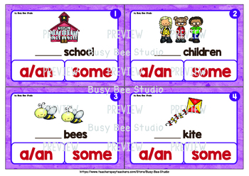 """Article Task Cards """"A or some? Countable Nouns"""""""