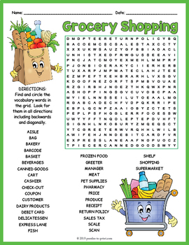 ESL Grocery Store Activity - Word Search FUN