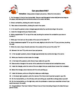 ESL Halloween Drawing/Following Instructions Activities