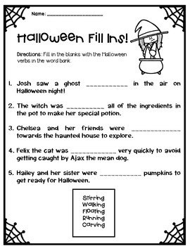 Esl Halloween Verbs Flashcards Task Cards Worksheets By Mel S Esl Shop