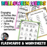 ESL Halloween Verbs - Flashcards, Task cards & Worksheets