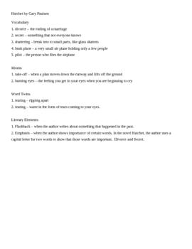 ESL Hatchet Chapter one vocab, literary elements, questions