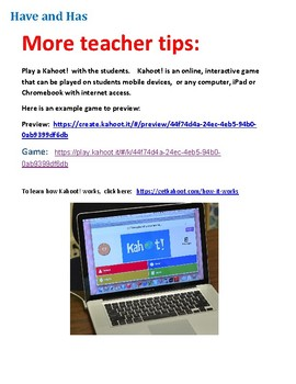 ESL   Have or Has Simple Present Tense   Lesson Plan with Worksheet