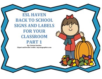 ESL Haven Back to School Signs and Labels