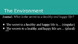 ESL: Health, Happiness + The Environment PowerPoint