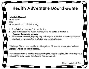 ESL Health Vocabulary Board Game